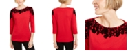 Karen Scott Placed-Print 3/4-Sleeve Top, Created For Macy's