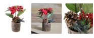 Northlight Artificial Poinsettia with Pine Cone and Berries Decorative Potted Plant