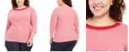 Karen Scott Plus Size Grommet-Trim Striped Cotton Top, Created For Macy's