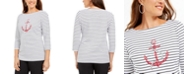 Karen Scott Petite Cotton Striped Anchor-Graphic Top, Created For Macy's