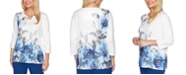 Alfred Dunner Sapphire Skies Asymmetric Floral Shimmer Top