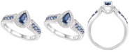 Macy's Sapphire (3/4 ct. t.w.) & Diamond (1/10 ct. t.w.) Pear Shaped Ring in Sterling Silver