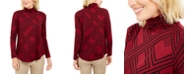 JM Collection Petite Long Sleeve Turtleneck Printed Top, Created For Macy's