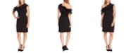 Vince Camuto Asymmetrical Feather-Trim Sheath Dress