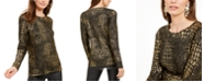 INC International Concepts INC Metallic Reptile-Print Sweater, Created For Macy's