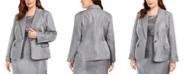Kasper Plus Size Metallic Single-Button Blazer