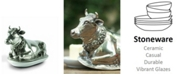 Vagabond House Pewter Metal Mabel The Cow Butter Cream Cheese Dish Lid with Stoneware Tray Base
