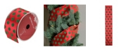 """Northlight Pack of 12 Red and Shimmering Green Polka Dot Wired Christmas Craft Ribbon Spools - 2.5"""" x 120 Yards Total"""