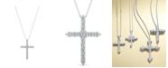 "Macy's Diamond 18"" Cross Pendant Necklace (2 ct. t.w.) in 14k White Gold"
