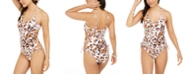 Hula Honey Juniors' Wild About You Printed Side-Lace One-Piece Swimsuit, Created For Macy's