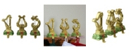 """Northlight Set of 3 Gold Harp Musical Instruments Glittered Christmas Stocking Holders 8"""""""