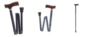 DMI Adjustable Folding Fancy Cane with Derby Top Wood Handle and Rubber Tips