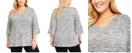 NY Collection Plus Size Stud-Trim 3/4-Sleeve Top