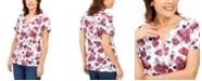 Karen Scott Floral Henley Top, Created For Macy's