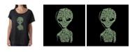 LA Pop Art Women's Dolman Cut Word Art Shirt - Alien