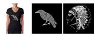 LA Pop Art Women's Word Art V-Neck T-Shirt - Edgar Allen Poe's The Raven
