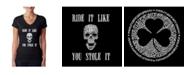 LA Pop Art Women's Word Art V-Neck T-Shirt - Ride It Like You Stole It