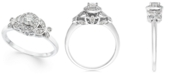 Macy's Diamond Floral Halo Engagement Ring (1/3 ct. t.w.) in 14k White Gold