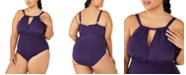 Lauren Ralph Lauren Plus Size Slimming Fit High-Neck Keyhole One-Piece Swimsuit