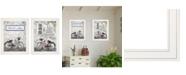 "Trendy Decor 4U Romantic Bicycles 2-Piece Vignette by Lori Deiter, White Frame, 15"" x 19"""