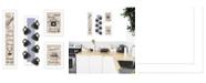 "Trendy Decor 4U Kitchen Collection VII 4-Piece Vignette with 7-Peg Mug Rack by Millwork Engineering, White Frame, 10"" x 32"""
