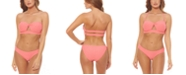 Jessica Simpson Rose Bay Solid Textured Twist Bandeau Bikini Top & Shirred Hipster Bottoms