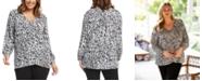 Karen Kane Plus Size Printed Crossover-Hem Top