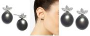 Macy's Cultured Black Tahitian Pearl (9mm) & Diamond (1/10 ct. t.w.) Stud Earrings in 14k White Gold