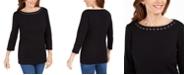 Karen Scott Grommet-Trim Cotton Top, Created For Macy's