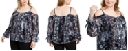 INC International Concepts INC Plus Size Printed Cold-Shoulder Top, Created For Macy's