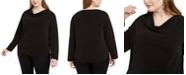 Monteau Trendy Plus Size Cowlneck Shine Top