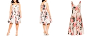 City Chic Trendy Plus Size Soft Blossom Printed Dress