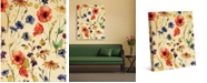 """Creative Gallery Wall of Flowers Watercolor on Light Yellow 36"""" x 24"""" Canvas Wall Art Print"""