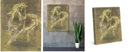 """Creative Gallery Buckskin Horse Drawing in Citrine on Olive 20"""" x 16"""" Canvas Wall Art Print"""