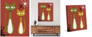"Creative Gallery Retro Cat Buddies Astrobursts on Rust 36"" x 24"" Canvas Wall Art Print"