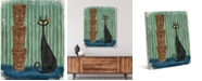 "Creative Gallery Retro Tiki Cat on Green Blue 20"" x 16"" Canvas Wall Art Print"