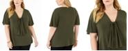 Michael Kors Plus Size Knot-Front Flutter-Sleeve Top