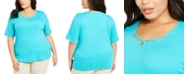 Karen Scott Plus Size Cotton Cutout-Neck T-Shirt, Created For Macy's