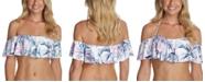Raisins Juniors' Paraiso Printed Moonstone Ruffled Bikini Top