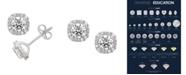 Macy's Certified Diamond  1-1/2 ct. t.w. Cushion Halo Stud Earrings in 14k White Gold