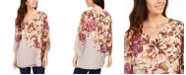 JM Collection  Printed Angel-Sleeve Top, Created For Macy's