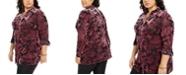 NY Collection Plus Size Velvet Burnout Top