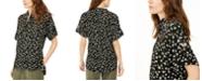 Michael Kors Floral-Print Roll-Sleeve Top, Regular & Petite