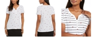 Karen Scott Printed Short-Sleeve Henley Top, Created For Macy's
