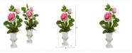 Nearly Natural 18in. Rose and Agave Artificial Arrangement in White Urn Set of 2