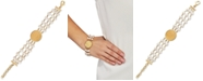 Macy's Cultured Freshwater Pearl (6mm) Triple Layer Coin Statement Bracelet in 14k Gold-Plated Sterling Silver