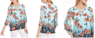 JM Collection Gatsby Printed Lattice-Neck Top, Created For Macy's