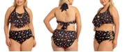 California Waves Trendy Plus Size Floral Flounce Bikini Top & High-Waist Bikini Bottoms, Created for Macy's
