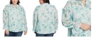 CeCe Plus Size Breezy Bouquet Ruffled Blouse