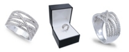 Macy's Cubic Zirconia Pave Interlocking Ring (1-1/6 ct. t.w.) in Sterling Silver